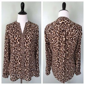 BANANA REPUBLIC Leopard V-Neck Button Front Blouse